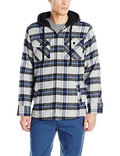 Burnside Men's Ritz Plaid Flannel Hooded Jacket with Sherpa Lining, Grey, X-Large