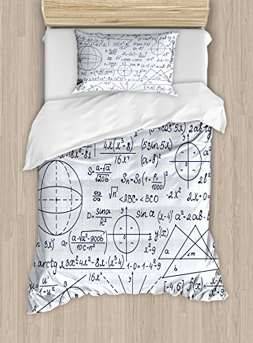 Ambesonne Modern Duvet Cover Set Twin Size, School Genius Smart Student Math Geometry Science Numbers Formules Image Art, Decorative 2 Piece Bedding Set with 1 Pillow Sham, Dark Purple White