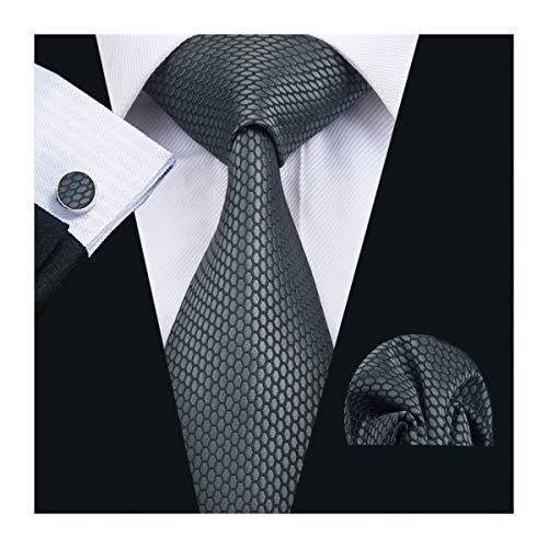 Cufflinks Gray Mens - Designer Tie Plaid Silk Hanky Cufflinks Set Dark Grey Fashion Pattern Formal Business