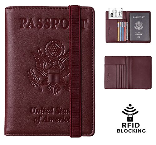 Travelambo RFID Blocking Leather Passport Holder Cover Case Travel Wallet Elastic Strap(Red NP Loyal B)