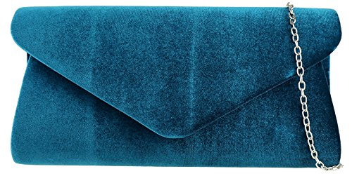 Blue Plain Plain HandBags Velvet Velvet Bag Teal Clutch Girly HandBags Girly U6WnxXvgq