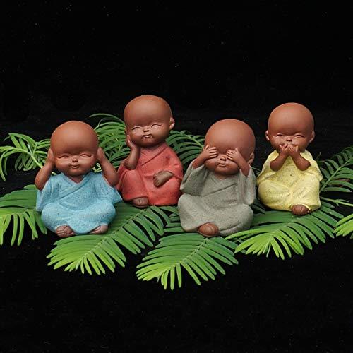 Pasonaseeds - Figurines & Miniatures - Mini Young Yoga Monk Statue Decorative Ceramic Furnishing articlescfigurine tathagata Mandala Smile Small Buddha Home -