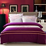 GL&G European cotton satin embroidery four - piece fashion simple embroidery cotton quilt bed linen,P,King Size