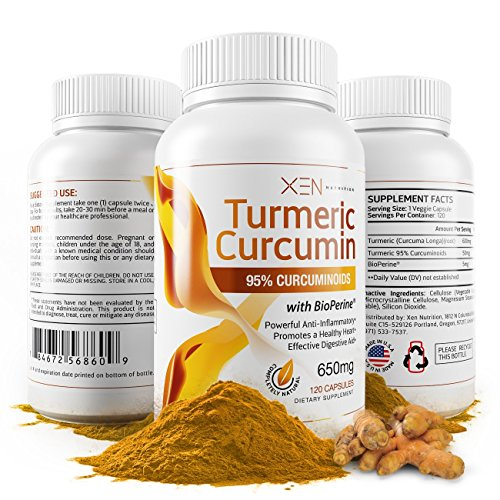 Turmeric Curcumin w/ BioPerine - 95%, Highest Grade - 2 Month Supply - 650mg - 120 Caps - Xen Nutrition - Anti-inflammatory Herbal Supplement - Digestive Aid, Joint Pain Relief, Organic Antioxidant