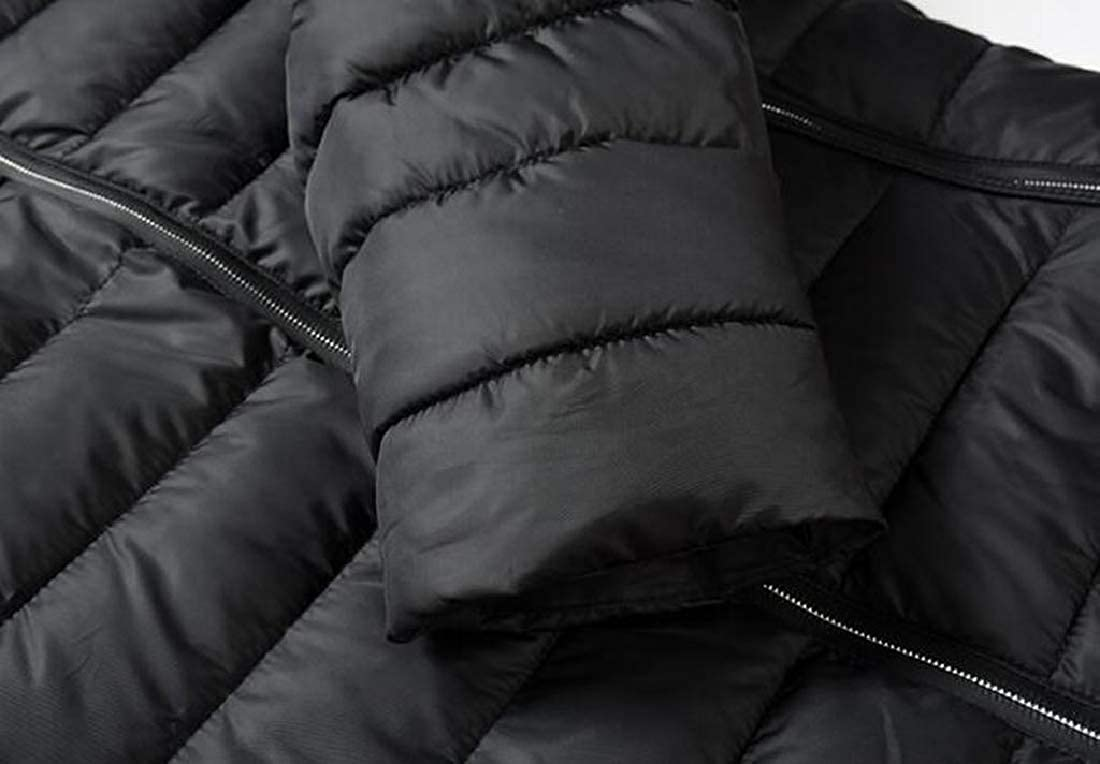 Fensajomon Mens Winter Plain Stand Collar Zip Up Down Quilted Jacket Coat Outwear