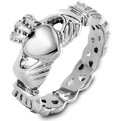[316l Stainless Steel Women's Claddagh Ring Love Heart Celtic Knot Crown Engagement Wedding Band] (Claddagh Band)