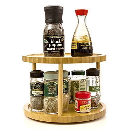 Turning Shelf 2 Tier For Kitchen Spice Rack Spice Holder Counter Top Approx 10-inch Made of Organic Bamboo by Intriom Bamboo Collection