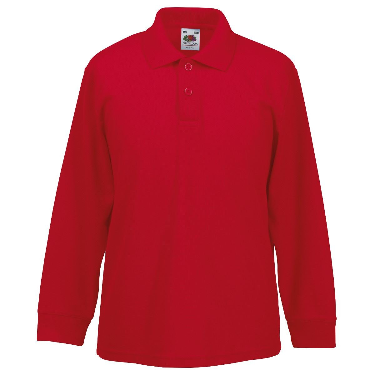 Fruit Of The Loom Kids Childrens Long Sleeve 65/35 Polo Shirt Red 3-4 Years