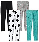 Spotted Zebra Girls' Little 4-Pack Leggings, Super Star, X-Small (4-5)