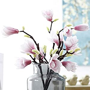 HTFGNC 5PCS Artificial Fake Silk Flowers Leaf Magnolia Floral for Home Wedding Decor Wreath Plants Table Accessory (Pink) 11