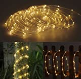 100 LED Warm White Solar Rope Tube Starry String Garden Light 17 feet long total length - waterproof for Outdoor - Patio - Gardens - Homes - Party - Christmas - Holiday Wedding - etc