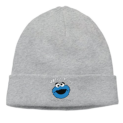 Winter WHY YOU DELETE COOKIE MONSTER Ash Unisex Warm Ski Hat For Woman (Cookie Monster Headband)