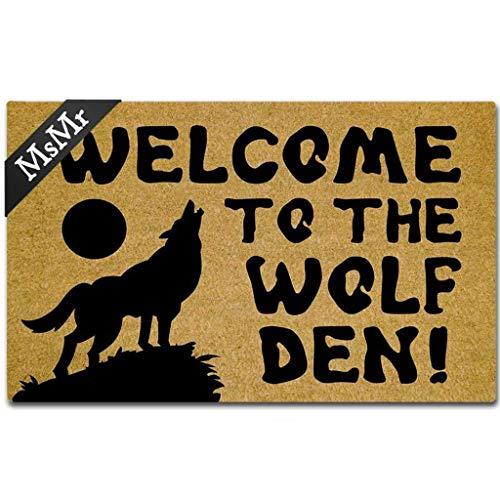 Door Wolf Mat - MsMr Door Mat Entrance Floor Mat Welcome to The Wolf Den Designed Funny Indoor Outdoor Doormat Non-Woven Fabric Top 18