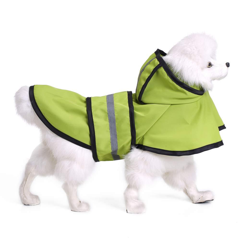 XX-Large Dog Raincoats Waterproof, Fashion Pet Rainy Days Green Raincoat, Dog Raincoat with Hood Collar Hole Safe Reflective Strips, for Small Or Medium Dogs,XXL