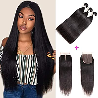"Mirthful Brazilian Virgin Straight Hair 3 Bundles With Closure 4""x4"" Inch Middle Part 8A 100% Unprocessed Brazilian Remy Human Hair Weft With Lace Closure Natural Black"