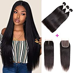 "Mirthful Brazilian Virgin Straight Hair 3 Bundles With Closure 4""x4"" Inch Middle Part 8A 100% Unprocessed Brazilian Remy Human Hair Weft With Lace Closure Natural Black(10 12 14 w 10 middle part)"