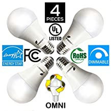 Fluxtronics A19 or A21 LED Light Bulb, Dimmable, 15W (100W Equivalent), 1600 Lumens, 5000K (Daylight White), ENERGY STAR, Omnidirectional, Medium Screw Base (E26), UL-Listed, 5 Years Warranty, 4-Pack