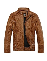 URBANFIND Men's Slim Wear Thick Fleece Motorcycle Faux Leather Outerwear Jacket
