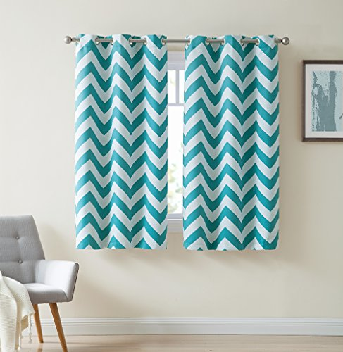 HLC.ME Chevron Print Thermal Insulated Room Darkening Blackout Window Curtain Panels for Kids & Nursery Room - Set of 2 - 37