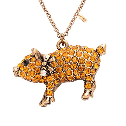 MANZHEN Antique Gold Crystal Lovely Pig Piggy Charm Pendant Necklace for Gift - Piggy Necklace