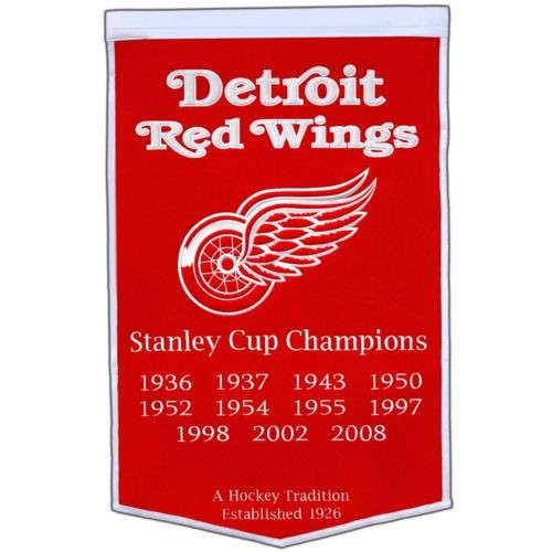 Detroit Red Wings Stanley Cup Championship Dynasty Banner - with hanging rod