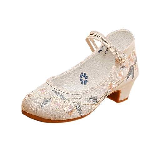 IOSHAPO Zapatos Bordados de tacón Medio de Mujer Patrón