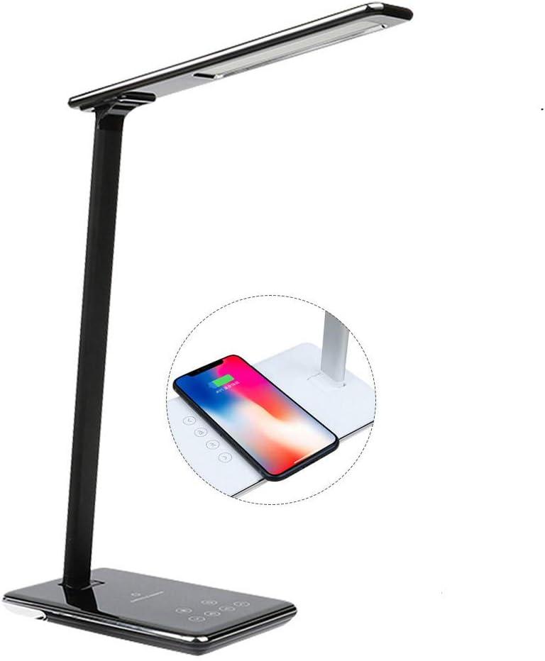 QOTS LED lámpara de Escritorio Cargador inalámbrico lámpara de Escritorio lámpara atenuador de Ojos para teléfono móvil Reloj Auriculares Carga@Negro B