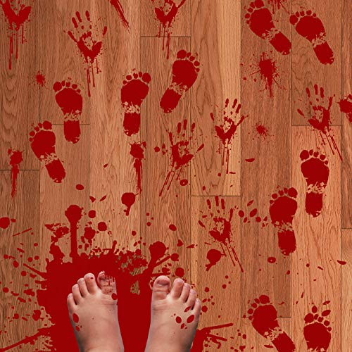 80PCS Removable Bloody Footprints Floor Clings - Halloween Little Vampire Zombie Party Decorations Decals Stickers -
