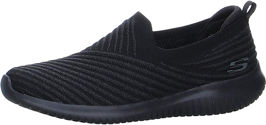 Skechers Slipper Ultra Flex Cool Streak para mujer, color negro