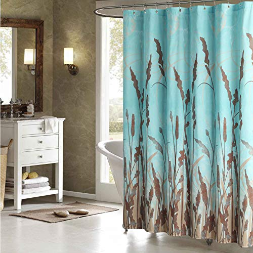 DS BATH Montana Green Shower Curtain,Aqua Polyester Fabric Shower Curtain,Plants Shower Curtains for Bathroom,Floral Bathroom Curtains,Print Waterproof Shower Curtain,72 inches W x 72 inches H (Turquoise Brown Curtains And)