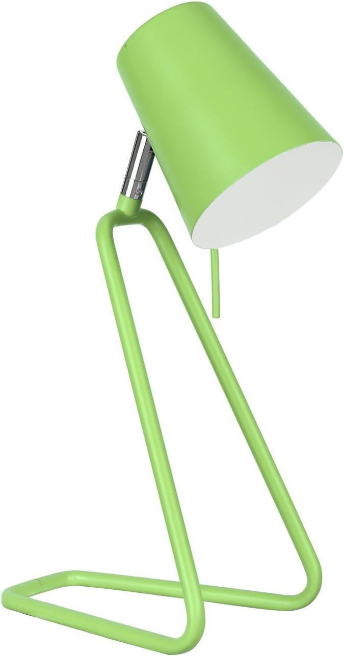 "Aspen Creative, Apple Green 40103-2, 13 1/2"" High Modern Desk Finish with Metal Lamp Shade, 4 3/4"" Wide"