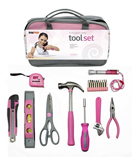 Bag Ram (RAM-PRO 11 Piece Pink General Hand Tool Set with Cute Pink Zippered Tool Kit - (Cute Gift for Girls, Ladies, Women))