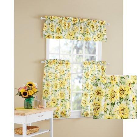 Mainstays Sunflower 3-Piece Kitchen Curtain Tier and Valance (Sunflowers Valance)