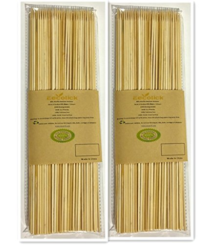 Eecotick Bamboo Skewers 12 inches (30 cm), set of 220 in 2 individual bags, 110 pieces per pack, 3 mm thick, no splinter nor flimsy, great for shish-kabobs, seafood, veggies and grilling