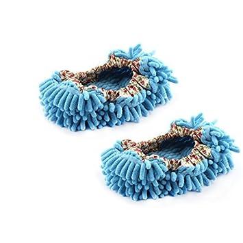eDealMax Casa Habitación Pavimento pulido Para espolvorear limpieza del Pie Calcetines Calzado fregona Zapatillas par Blue