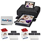 Photo : Canon SELPHY CP1300 Compact Photo Printer (Black) + 2x Canon KP-108IN Color Ink and Paper Set + Photo4Less Cleaning Cloth - Deluxe Value Printing Bundle