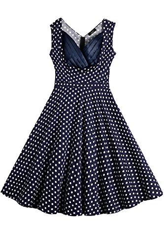 Creti Women's Vintage Polka Dot Sleeveless Spring Garden Swing Party Picinic Evening Dress Cocktail Dress (M) (Cocktail Pull Drawer)