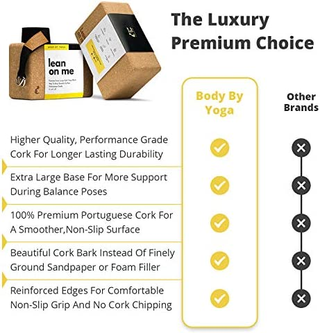 Luxury Cork Yoga Block Set - Extra Large Yoga Blocks with Performance Grade Portuguese Cork | High Density, Non-Slip Support for Safer Balancing | 2 Pack | 100% Cotton, Extra Long Yoga Strap Included