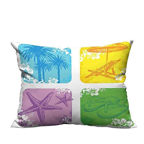 YouXianHome Lovely Cushion Covers Image of Palm Trees Starfish Slippers Sun Bed and Umbrella Tropical Beach Picture Resists Stains(Double-Sided Printing) 13x17.5 inch ()