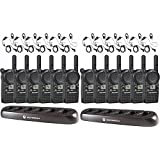 12 Motorola CLS1410 Two Way Radio Walkie Talkies + 2 Multi Chargers + 12 Earpieces