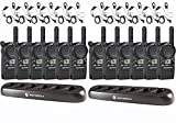 12 Motorola CLS1410 Two Way Radio Walkie Talkies + 2 Multi Chargers + 12 Earpieces