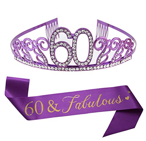 Sixty Birthday Decorations (60th Purple Birthday Tiara and Sash Purple Glitter Sash Crystal Rhinestone Tiara Crown for 60th Birthday Party Supplies Favors Decorations Cake)