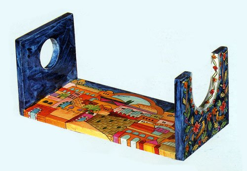 Wooden Hand Painted Shofar Stand, Small - 6 1/2'' x 4''