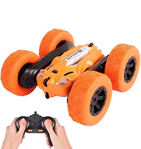 OUTTUO RC 스턴트 자동차-2.4GHZ 양면 360°스핀&플립 LED 조명 원격 제어 레이싱 트럭 4WD 어린이위한(오렌지)
