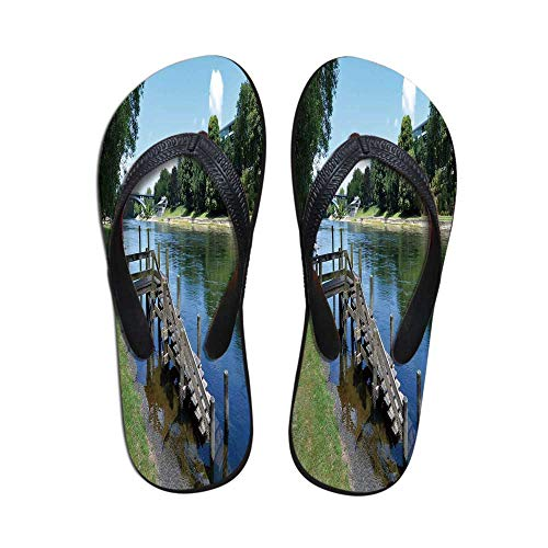 Outdoor Modern Flip Flops,Waikato River Hamilton City New Zealand Holiday Destination Travel Landmark for Party & House & Other Events,US Size 10 ()