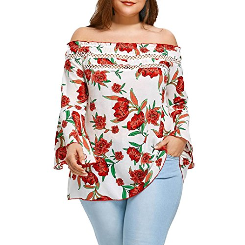 TOTOD Women Plus Size Floral Print Off Shoulder Patchwork Hollow Flare Sleeve Pullover Shirt Tops Blouse (XXL, Red) (Godet Hem Skirt)