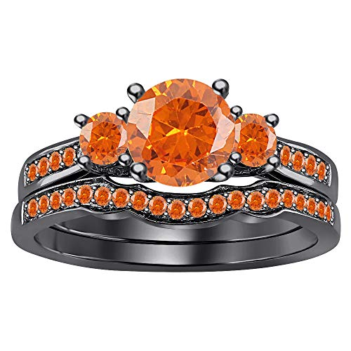 RUDRAFASHION 3-Stone CZ Round Cut Orange Sapphire 14K Black Gold Plated Curved Wedding Band Engagement Bridal Ring Set for Women -