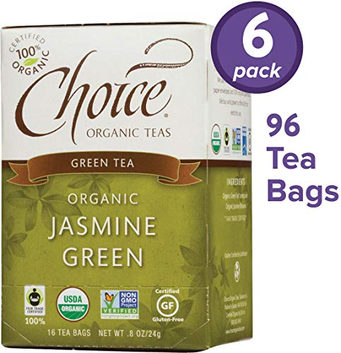 (Choice Organic Teas Green Tea, 6 Boxes of 16 (96 Tea Bags), Jasmine Green)
