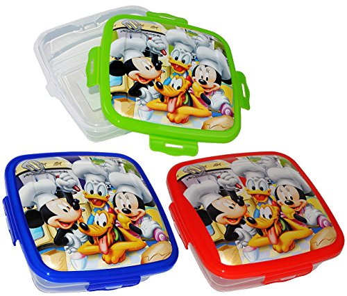 2 in 1: Frischhaltedose / Lunchbox - Disney Mickey & Minnie Mouse - ECKIG - für Kinder Mädchen & Jungen - Brotdose / Playhouse Küche Kochen - Kinderküche - klein Frischhaltebox / Multifunktionsbox