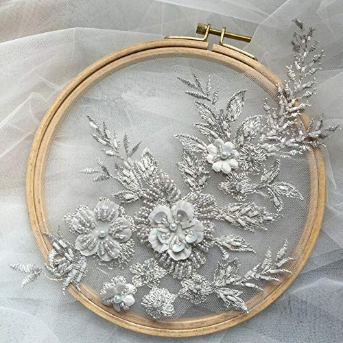 DIY 3D Embroidery Lace Flower Bridal Applique Pearl Beaded Tulle Wedding Dress (Colour - Colour6#)